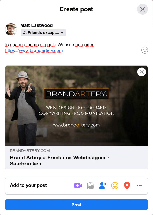 blogbeitrag erstellen facebook preview » Webdesigner Saarbrücken » WordPress-Websites + Empathie